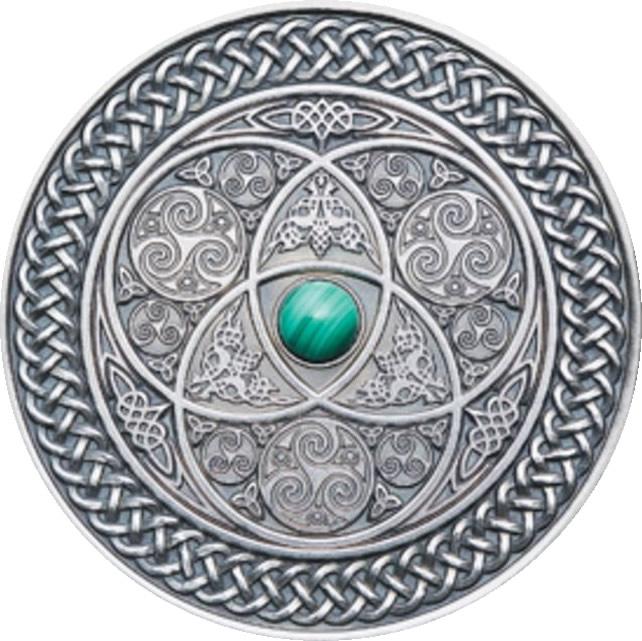 Aqua-green malachite stone at the center - Antique Finish 2016 Mandala Art Ultra High Relief $10 coin