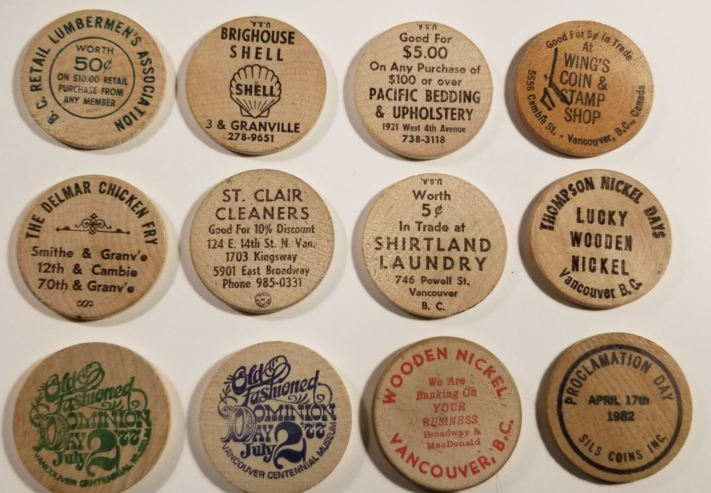 Vancouver Wooden Nickels assortment rev